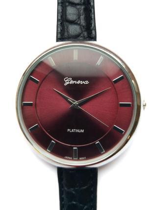 Geneva platinum крупные часы из сша кожаный ремешок механизм j...