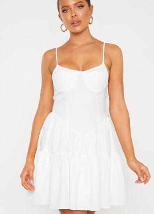 Ликвидация товара 🔥   белое мини платье с оборками и чашкой