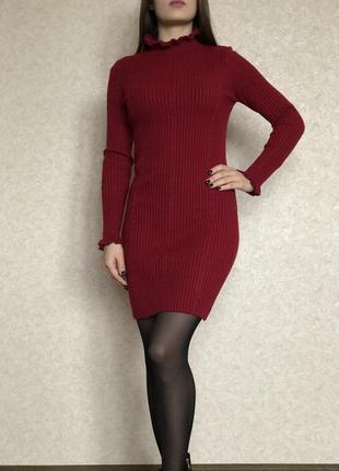 Платье трикотажное рубчик бордо