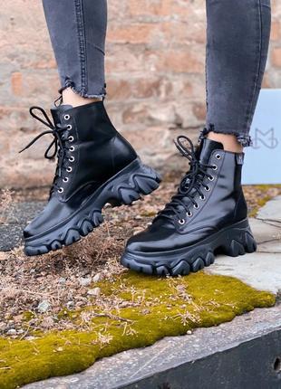 Ботинки ms boots full black мех шикарные женские сапоги с мехо...