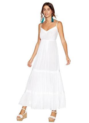 Летнее белое платье в пол из вискозы debenhams