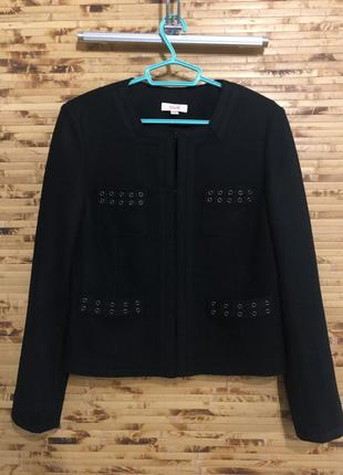 Брендовый шерстяной пиджак жакет laurel чёрного цвета