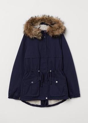 Новая утепленная теплая парка куртка на меху h&m