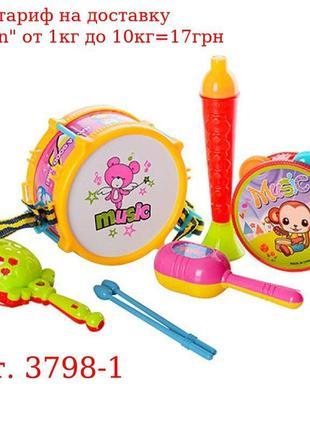 Музыкальные инструменты 3798-1 барабан, палочки2шт, бубен, мар...