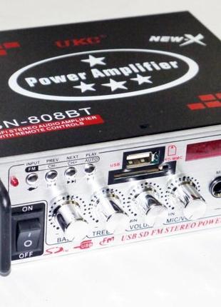 Усилитель UKC Xplod SN-808BT - блютуз, USB,SD,FM,MP3! 300W+300W