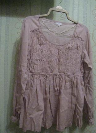 Женская блуза пудрового цвета, р.50-52