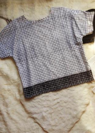 Белая футболка блуза в черную клетку полоску оверсайз батал бо...
