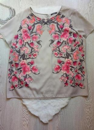 Цветная блуза футболка шифон серая бежевая с цветочным розовым...