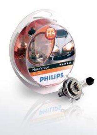 Фирменная МОТО лампа PHILIPS цоколь H4 PHILIPS 60/55W 12V P43t...