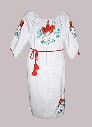 Платье вышитое женское машинной гладью