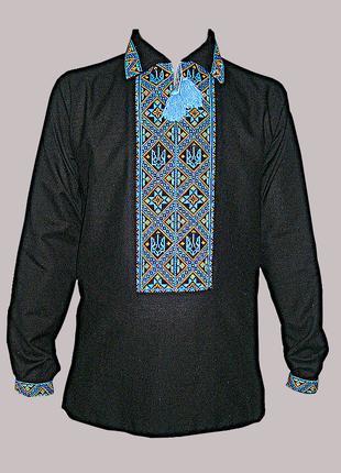 Вышиванка мужская чёрная ручной вышивки крестиком с тризубами