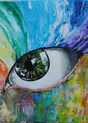 """Картина абстракция акрилом  Глаз Вселенной"""", 70*50см"""