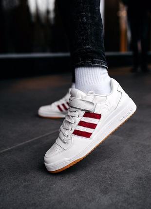 Кроссовки мужские adidas forum white/red, адидас белые красные...