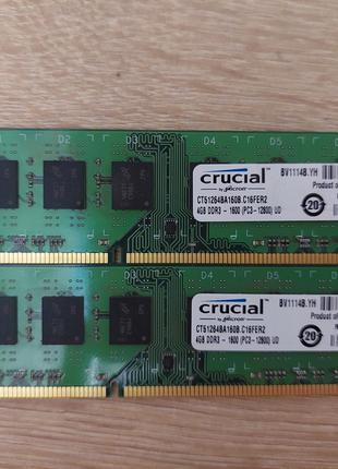 Оперативна пам'ять Crucial (DIMM, DDR3, 4Gb, 1600MHz, CT51264B...