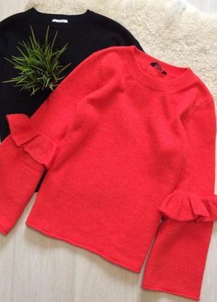Красный свитер с широкими рукавами клёш f&f размер 14/16
