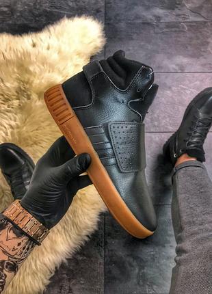 Мужские кожаные кроссовки  Adidas Tubular Invader Black Brown Gum
