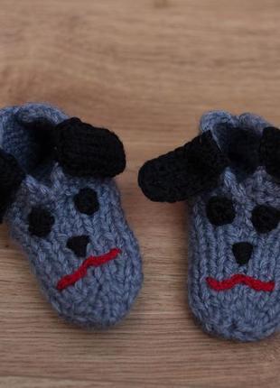 Тапочки вязаные носочки пинетки собачки