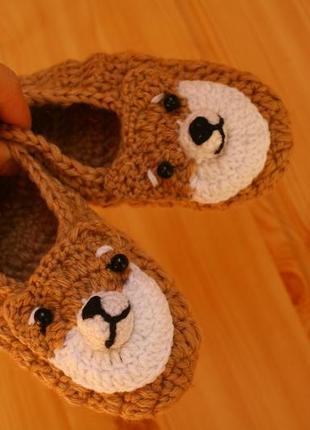 Тапочки вязаные домашние носочки пинетки собачки