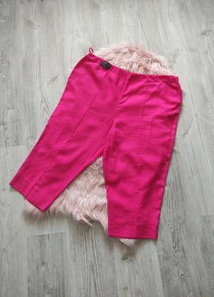 Льняные бриджи розовоые лен на резинке вискоза натуральные