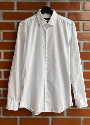 Hugo boss оригинал мужская белая рубашка размер l 40 хуго босс...