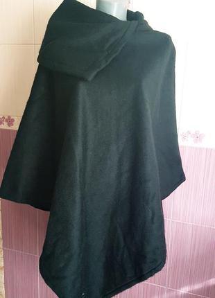 Черное шерстяное асимметричное пончо пальто накидка неформальн...