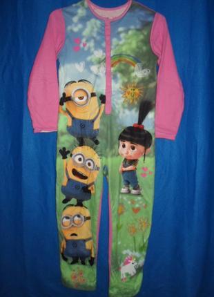 двухсторонняя пижама комбинезон слип флисовый 9-10лет рост 135-14