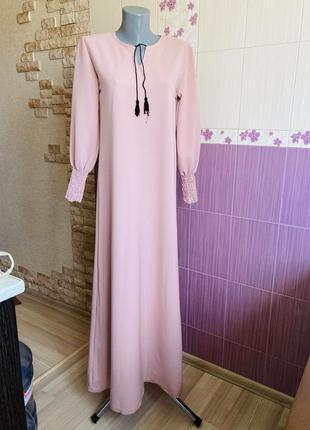 Пудровое платье сари макси в пол абайа нарядная