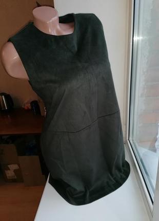 Платье замшевое хаки, оливковое (под замш) forever 21 (к003)