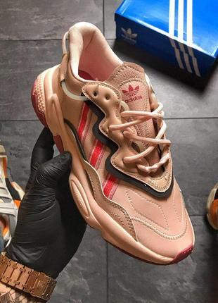 Adidas ozweego pink, стильные женские розовые кроссовки адидас...