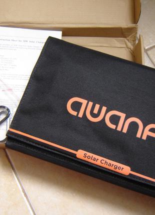 Солнечная батарея, зарядка AWANFI 28Вт (новая)