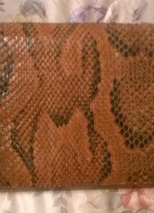 Клатч из натуральной кожи змеи.