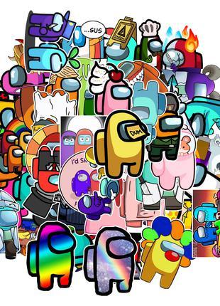 Набор стикеров Амонг Ас - 50 шт - Виниловые наклейки на ноутбук