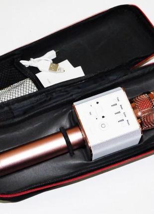 Микрофон Q9 портативный караоке с динамиком с чехлом (Розовый)
