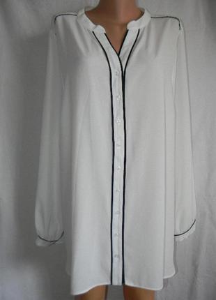 Белая блуза рубашка  большого размера