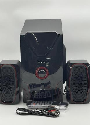 Музыкальный центр 2.1 15Вт+2х5Вт BT/FM/USB/SD/ДУ ZXX ZX-4810BT