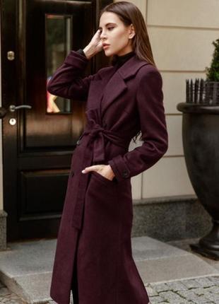 Пальто женское бордовое шерсть