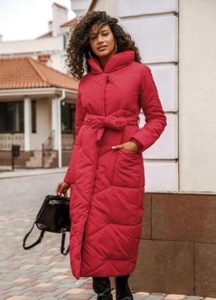 Пальто зима 2020 курта длинная алое плащевка