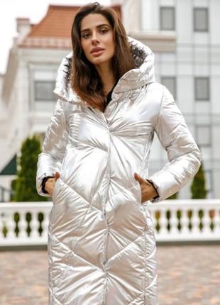 Куртка зимняя с капюшоном серебристая
