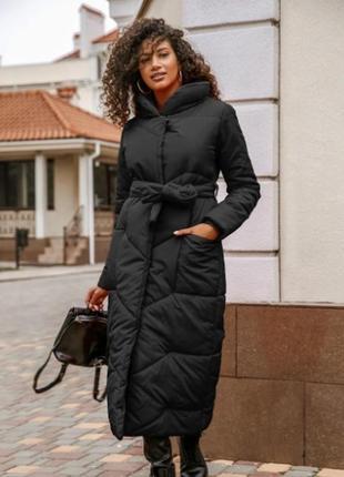 Пальто зимнее женское под пояс черное