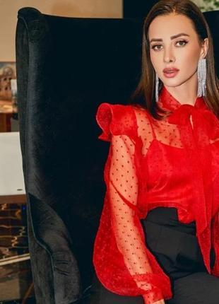 Блуза блузка красная обьемная фатиновая