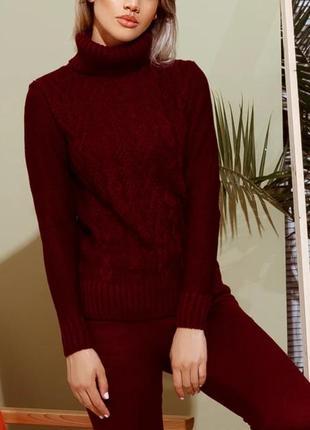 Вязаный спортивный костюм бордовый теплый