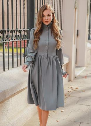 Платье-миди ретро серое