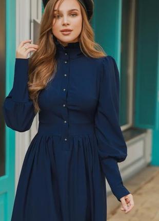 Платье синее в ретро стиле🔥