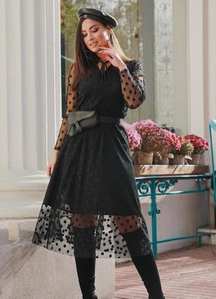 Платье черное большого размера