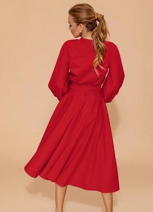 Костюм юбка клеш джемпер красный итальянский трикотаж