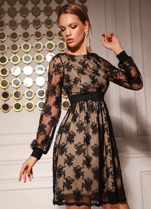 Вечернее платье черное кружевное с длинным объемным рукавом