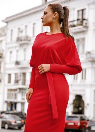 Платье алое миди трикотажное однотонное