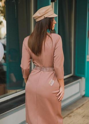 Платье-миди светло-шоколадного оттенка с поясом