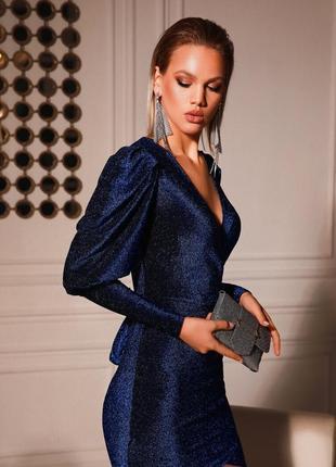 Коктейльное платье отрезная талия royal blue