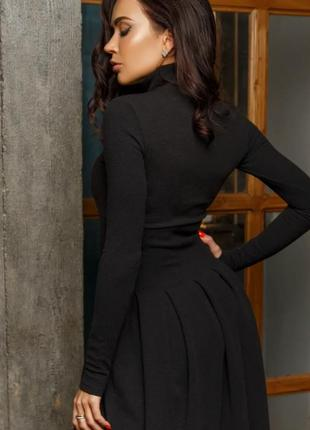 Платье трикотажное_черное_платье_клеш